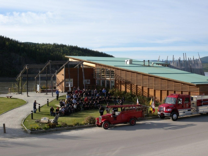 The 1927 International and one of it's successors at the opening ceremonies of the 2012 Association of Yukon Fire Chiefs conference, held in Dawson City