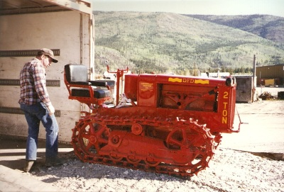 Our Master Mechanic Eric Blatter inspects the newly restored Caterpillar - June 1997